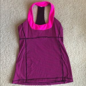 Pink and maroon striped lululemon tank with bra
